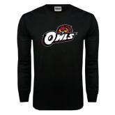Black Long Sleeve TShirt-Owls w/Owl Head