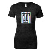 Next Level Ladies Junior Fit Black Burnout Tee-Box T Foil