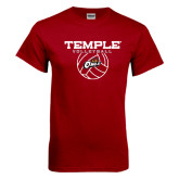 Cardinal T Shirt-Temple Volleyball Stacked