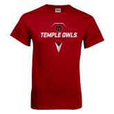 Cardinal T Shirt-Temple Owls Lacrosse w/Lacrosse Stick