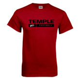 Cardinal T Shirt-Temple Football Stacked w/Bar