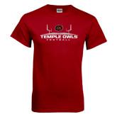 Cardinal T Shirt-Temple Owls Football w/Field