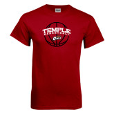 Cardinal T Shirt-Temple Basketball Arched w/Ball