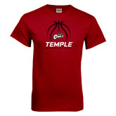Cardinal T Shirt-Temple Basketball Stacked w/Contours