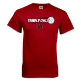 Cardinal T Shirt-Temple Owls Volleyball w/Flying Ball