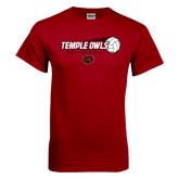 Cardinal T Shirt-Temple Owls Volleyball w/Flying Ball