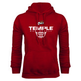 Cardinal Fleece Hoodie-Temple Basketball Stacked w/Net Icon