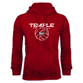 Cardinal Fleece Hood-Temple Volleyball Stacked
