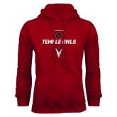 Cardinal Fleece Hood-Temple Owls Lacrosse w/Lacrosse Stick