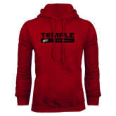 Cardinal Fleece Hood-Temple Football Stacked w/Bar