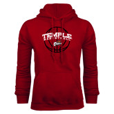 Cardinal Fleece Hood-Temple Basketball Arched w/Ball