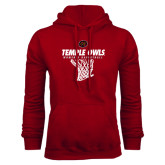 Cardinal Fleece Hood-Temple Owls Womens Basketball w/Net