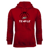 Cardinal Fleece Hood-Temple Basketball Stacked w/Contours