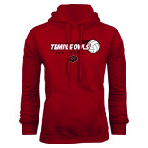 Cardinal Fleece Hoodie-Temple Owls Volleyball w/Flying Ball