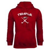 Cardinal Fleece Hood-Temple Field Hockey Crossed Sticks