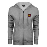 ENZA Ladies Grey Fleece Full Zip Hoodie-Owl Head