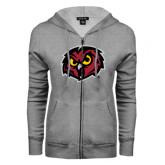 ENZA Ladies Grey Fleece Full Zip Hoodie-Owl Head