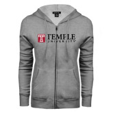 ENZA Ladies Grey Fleece Full Zip Hoodie-University Mark