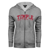 ENZA Ladies Grey Fleece Full Zip Hoodie-Arched Temple University