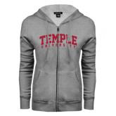 ENZA Ladies Grey Fleece Full Zip Hoodie-Arched Temple University