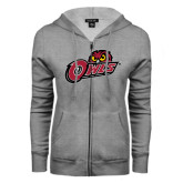 ENZA Ladies Grey Fleece Full Zip Hoodie-Owls w/Owl Head