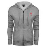 ENZA Ladies Grey Fleece Full Zip Hoodie-Vintage T