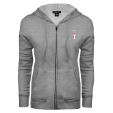 ENZA Ladies Grey Fleece Full Zip Hoodie-Vintage Owl Atop T