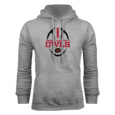 Grey Fleece Hood-Temple University Owls Football Vertical