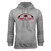 Grey Fleece Hood-Temple Owls Football Under Ball