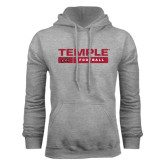 Grey Fleece Hood-Temple Football Stacked w/Bar