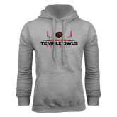 Grey Fleece Hoodie-Temple Owls Football w/Field