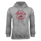 Grey Fleece Hood-Temple Basketball Arched w/Ball