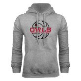 Grey Fleece Hoodie-Owls Womens Basketball w/Lined Ball