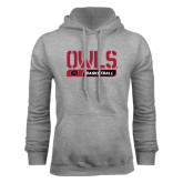 Grey Fleece Hoodie-Owls Basketball Stencil w/Bar