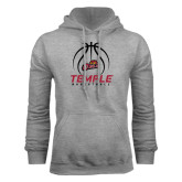 Grey Fleece Hood-Temple Basketball Stacked w/Contours