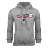 Grey Fleece Hood-Temple Owls Volleyball w/Flying Ball