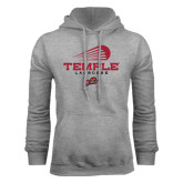 Grey Fleece Hoodie-Temple Lacrosse Modern