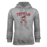 Grey Fleece Hoodie-Temple Field Hockey Crossed Sticks