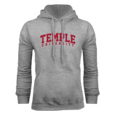 Grey Fleece Hood-Arched Temple University