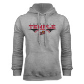 Grey Fleece Hood-Temple Football Over Football