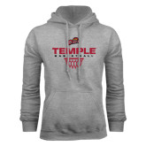 Grey Fleece Hoodie-Temple Basketball Stacked w/Net Icon