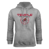 Grey Fleece Hood-Temple Volleyball Stacked