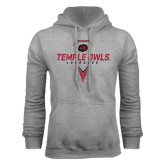 Grey Fleece Hoodie-Temple Owls Lacrosse w/Lacrosse Stick