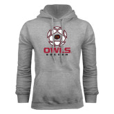 Grey Fleece Hoodie-Owls Soccer Geometric Ball