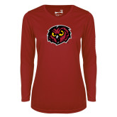 Ladies Syntrel Performance Cardinal Longsleeve Shirt-Owl Head