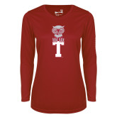 Ladies Syntrel Performance Cardinal Longsleeve Shirt-Vintage Owl Atop T