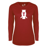 Ladies Syntrel Performance Cardinal Longsleeve Shirt-Perched Owl T
