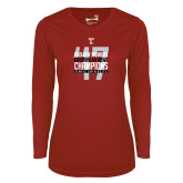 Ladies Syntrel Performance Cardinal Longsleeve Shirt-Bad Boy Mowers Gasparilla Bowl Champions - Year