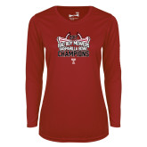 Ladies Syntrel Performance Cardinal Longsleeve Shirt-Bad Boy Mowers Gasparilla Bowl Champions - Stadium