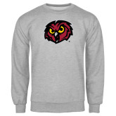 Grey Fleece Crew-Owl Head